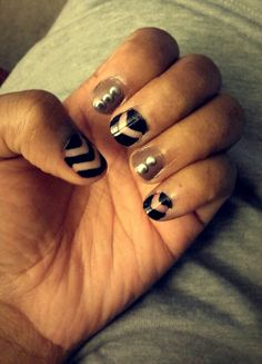 Chevron nails with negative space and studs ♡♡♡