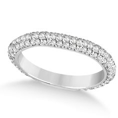 Round Cut CZ Eternity Band Ring In White Gold Plated Pure 925 Sterling Silver…