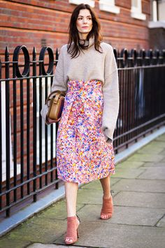 Hedvig Sagfjord in a colorful Roksanda Ilincic midi skirt and Jimmy Choo shoes.