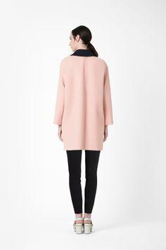 Detachable collar coat, scuba fabric