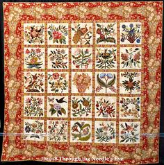 The Caswell Quilt, by Cynthia Colier; Telling Stories Through the Needle's Eye: It's All About Appliqué! Applique Pillows, Applique Quilts, Applique Designs, Quilting Designs, Caswell Quilt, International Quilt Festival, Sampler Quilts, Flower Applique, Floral Fabric