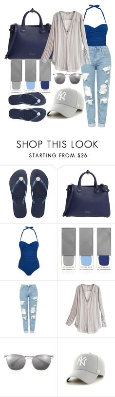 """""""Untitled #477"""" by wolf-ccc ❤ liked on Polyvore featuring Havaianas, Burberry, Heidi Klein, Topshop, Calypso St. Barth and Prada"""