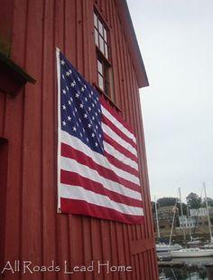 Red barn & American flag.