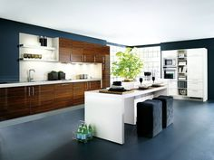 Kitchen:Elegant Modern Kitchen Interior Contemporary Kitchen Design Idea White Laminate Kitchen Island Kitchen Faucet White Kitchen Storage Microwave Oven Wall Rack Stainless Steel Cookware Consider The Concept of The Contemporary Kitchen Interior Minimal Kitchen Design, Galley Kitchen Design, Best Kitchen Designs, Kitchen Cabinet Design, Minimalist Kitchen, Interior Design Kitchen, Home Design, Kitchen Ideas, Kitchen Inspiration