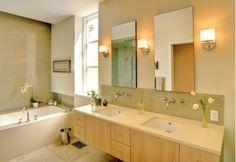 Bathroom Ideas with Oak Wooden Floating Vanity