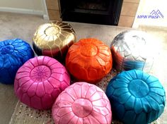 SALE Mix and Match 2 Moroccan Leather Poufs/Ottomans- Sold UN-STUFFED by MPWPlaza on Etsy