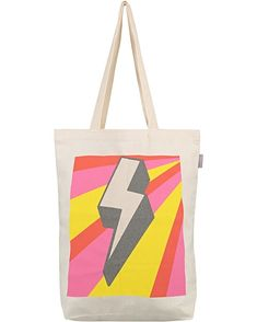 Lightning Bolt Canvas Shopper Bag | Oliver Bonas Canvas Shopper Bag, Lightning Bolt, Folded Up, Graphic Prints, Shopping Bag, Vibrant, Christmas Gifts, Reusable Tote Bags, Oliver Bonas