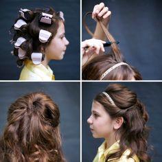 DIY Hairband Half Up Hairdo diy diy ideas easy diy diy beauty diy hair diy fashion beauty diy diy bun diy style diy hair style diy updo Disney Hairstyles, Disney Princess Hairstyles, Cute Hairstyles, Hairstyle Ideas, Disney Belle, Communion Hairstyles, Up Hairdos, Belle Hairstyle, Princesas Disney