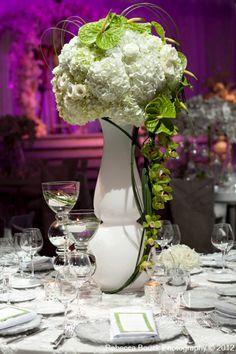 White Ranunculus, Roses, and Hydrangea, Green Cymbidium Orchids and Anthurium