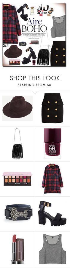 """""""SheIn Fedora Hat"""" by lady-of-rose ❤ liked on Polyvore featuring Balmain, STELLA McCARTNEY, Nails Inc., Anastasia Beverly Hills, Maybelline, Monki, fringe, boho, plaid and fedorahat"""