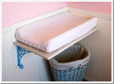 Small Baby Changing Table - Ideas on Foter Wall Mounted Changing Table, Baby Changing Tables, White Nursery Furniture, Baby Furniture, Luxury Furniture, Bedroom Furniture, Furniture Ideas, Girl Nursery, Child Room