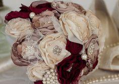 Cream Dusty Pink and Burgundy Satin and by MyVintageWeddingAust