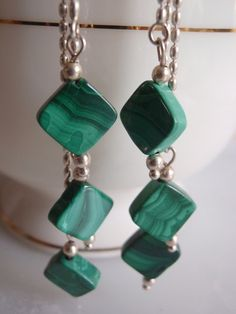 dangly malachite squares earrings by LKcreativedesigns