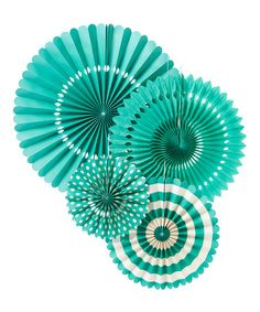 This Teal Party Fan Set is perfect! #zulilyfinds