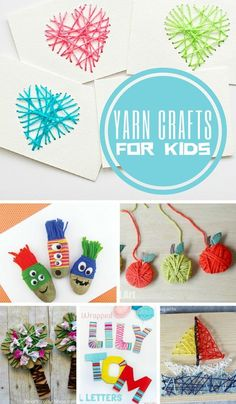 Yarn Crafts for Kids | These are some cute ideas for using up some of my crazy big yarn stash. Fun art projects, kids crafts, DIY
