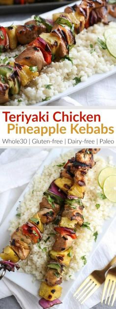 Fire up the grill for these Grilled Teriyaki Chicken and Pineapple Kebabs! Whole30-friendly and perfect for weeknight dinners and parties, too. Serves: 4