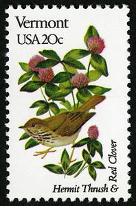 April 14, 1982. A stamp featuring the hermit thrush and red clover.
