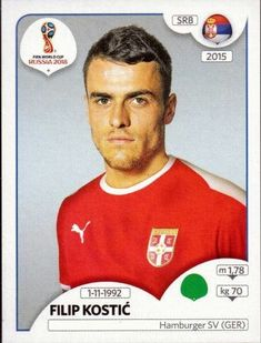 Filip Kostić - Serbia World Cup Russia 2018, World Cup 2018, Fifa World Cup, Football Stickers, Football Cards, Baseball Cards, Hamburger Sv, Jersey Atletico Madrid, America's Cup