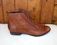 Lace Up Boots Leather Ankle Booties Oxford Vintage 90s Stacked Heels Boho Grunge Revival Wingtip Brown Brogues Granny Wingtip Size 7