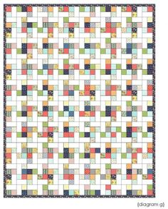Fancy: A Jelly Roll Lap Quilt « Moda Bake Shop (1 jelly roll & 2 3/4 yards solid... add border for twin size)