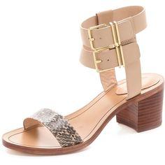 Pour La Victoire Dagney Block Heel Sandals - Nude/Cigar