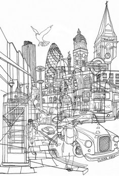 London Print by David Bushell London Illustration, Illustration Art, Gherkin London, Outline Art, A Level Art, Gcse Art, London Art, Urban Landscape, Oeuvre D'art