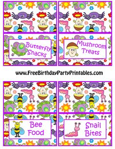 Spring Bugs Birthday Party Food Card Template Free Birthday Party Printables PNG Butterfly Snacks Mushroom Treats Bee Food Snail Bites.png (2550×3300)