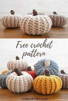 Adorable!! Free crochet pattern for pumpkins that look knit!