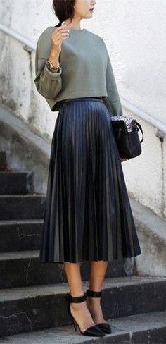 102d0bdd8e7 CLICK   BUY  ) New black faux leather pleated skirt high waist midi length  autumn fall winter black pleated skirt fall winter outfit olive green  sweater ...