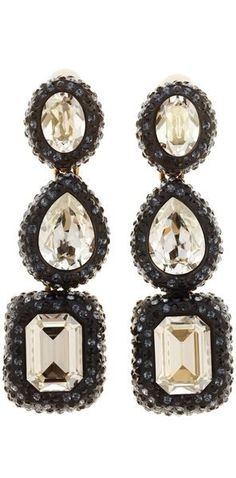 Black Triple Drop Crystal Earrings by Oscar de la Renta   Holiday Color Crush - Gold, Black and Crystal   Haute Tramp