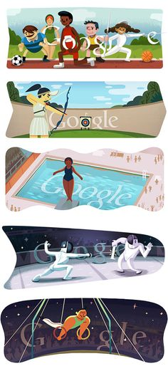 Google's daily doodles so far, 2012:  Google's daily Olympic doodle tradition began back in 2000 during the Sydney Olympics and continued through the 2002 Winter Olympics (Salt Lake City, USA), 2004 Athens Olympics, 2006 Torino Winter Olympics, 2008 Beijing Olympics and 2010 Vancouver Winter Olympics.