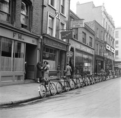 Row of bikes at Harold's Cross Dublin Dublin Pubs, Dublin Street, Dublin City, Old Pictures, Old Photos, Vintage Photos, Ireland Homes, Photo Engraving, Emerald Isle