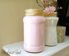 Old spaghetti sauce jars painted inside. So doing this!!!