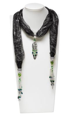 """Scarf with Celestial Crystal® Beads, Antiqued Pewter Charms and Antiqued Silver-Finished """"Pewter"""" Scarf Holders"""