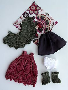 """Knit Doll Clothing: Rav project notes give instructions for improved clothing; doll pattern is free on Knitty """"Sally the Eco Fairy"""""""