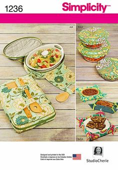 Casserole Carriers Pattern, Fabric Bowl Covers Pattern, Food Gifting Basket Pattern, Simplicity sewing pattern 1236