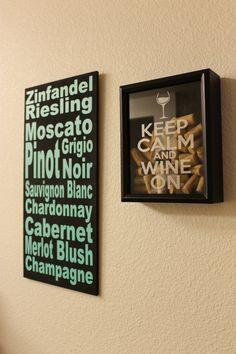 8X10 Wine Cork Holder, Cork Keeper, Keep Calm Wine On, Keep Calm Drink Wine, Wedding Date, Shadow Box, ETCHED glass VINYL on Etsy, $35.00
