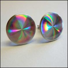 Vintage Cufflinks 3D Rainbow Refract Mirrors 1970s Mens Jewelry $45