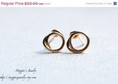 ON SALE Tiny Open Circle Stud Earrings, 14k Gold Filled, Double Circle, Minimalist Earrings