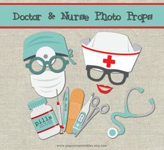 Doctor & Nurse Photo Booth Props- DIY Instant Download- Adobe Reader- Boy or Girl Birthday Party - Medical Equipment Tools - Red Cross