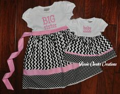 Long or Short Sleeve Big Sister Little Baby Sister Dress - Big Sister Dress Set - Pink Black - Coming Home Outfit -Baby Gift
