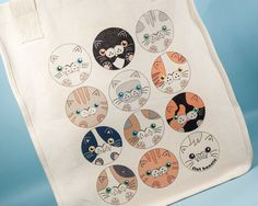 "12 Neko - Kawaii cat bag - Certified organic cotton canvas - Market tote bag - Tote Bag - Flat Bonnie - Large tote-bag - Size: 15"" tall (38 cm) x 12"" wide (30 cm) x 6"" deep (15 cm)"