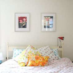I love the tossled vintage sheet pillow cases.  I could just crawl right in.  The prints don't have to match.