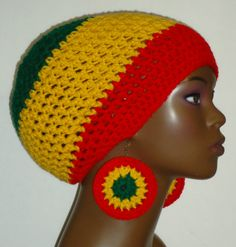 Rasta Colors Crochet Beret/Small Tam and Earrings by Razonda Lee