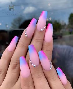 42 acrylic nail designs by glamorous ladies of the summer season .- 42 acrylic nail designs by glamorous ladies of the summer season. Picture # 1 – Nails / Nails – # Acrylic Nails # of - Summer Acrylic Nails, Best Acrylic Nails, Summer Nails, Pastel Nails, Purple Ombre Nails, Fall Nails, Pastel Pink, Acrylic Nails Coffin Classy, Ombre Nail Art