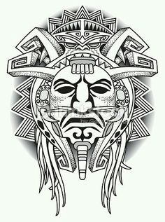 Aztec tattoos in the tribal form are equally popular as their colorful counterparts. Here is information on the meanings associated with some of the most popular Aztec designs. Aztec Tattoo Designs, Polynesian Tattoo Designs, Tattoo Sleeve Designs, Sleeve Tattoos, Kunst Tattoos, Tattoo Drawings, Body Art Tattoos, Female Tattoos, Inka Tattoo