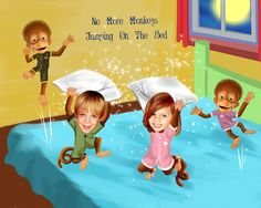 "No More Monkeys Jumping on the Bed Caricature From Your Children's Photos. 11""x14"" Premium Luster Print."