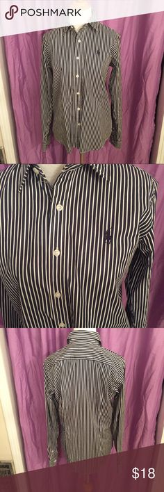 Polo Ralph Lauren women's button down Polo Ralph Lauren Women's Dress Button Down. Navy and white striped. Size 8 Slim fit. In great condition. Make an offer or check out my other items for bundles! Polo by Ralph Lauren Tops Button Down Shirts