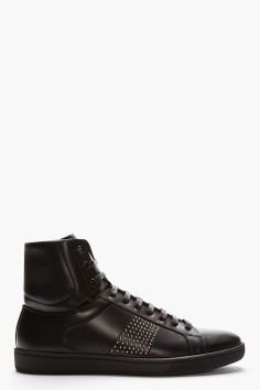 SAINT LAURENT Black Classic Studded Leather High-Top Sneakers