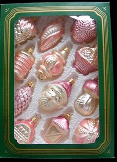 Vintage Italy Glass Pink Christmas Ornaments in Original Box
